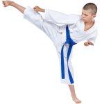 Boy karate kicking