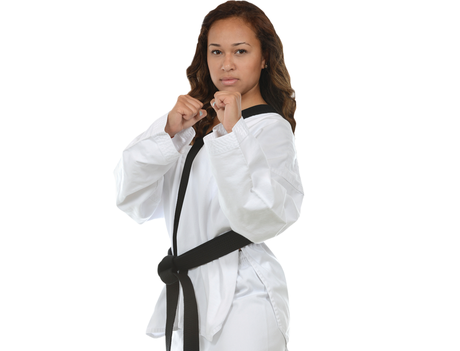 woman in karate stance