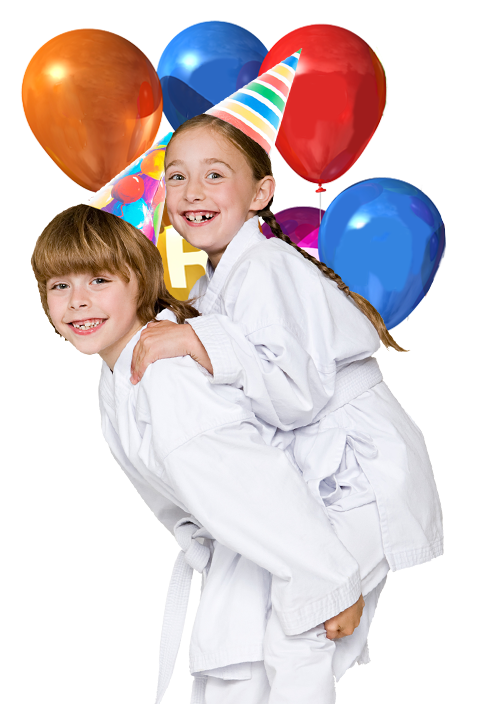 kids wearing birthday party hats