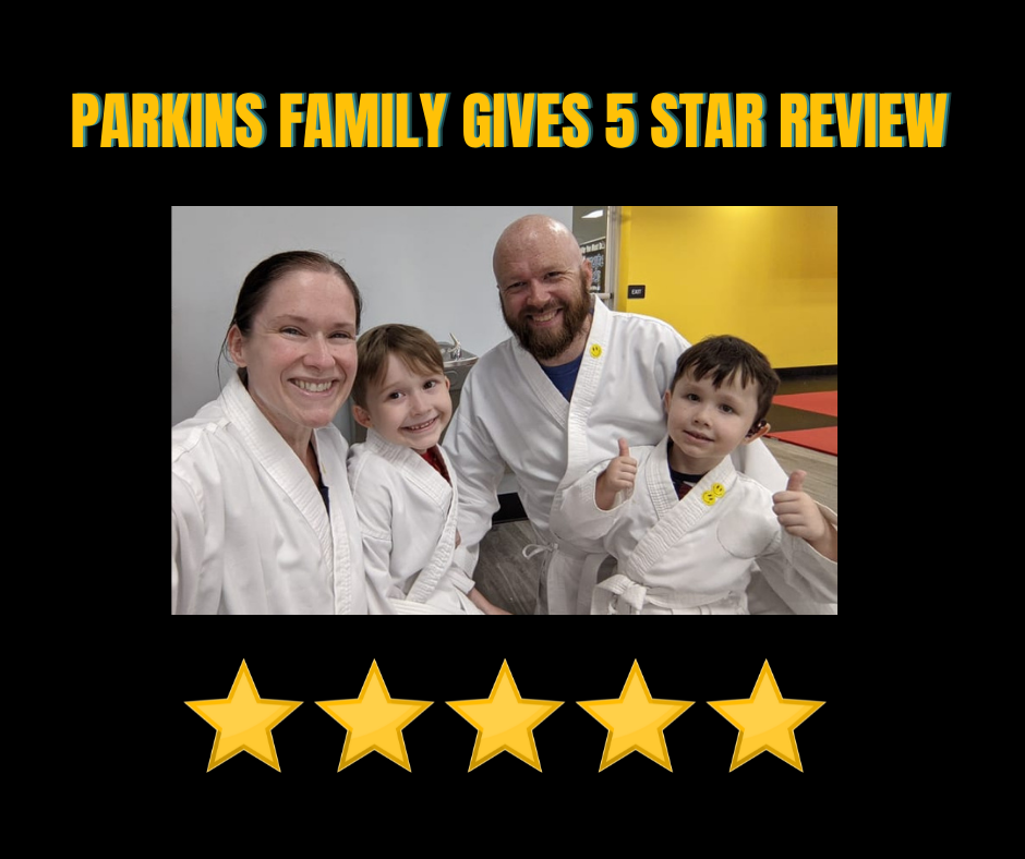 Parkins Family Mom Dad 2 boys in uniform give 5 stars